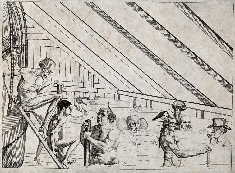 V0020035 Men bathing in a public bath. Engraving.