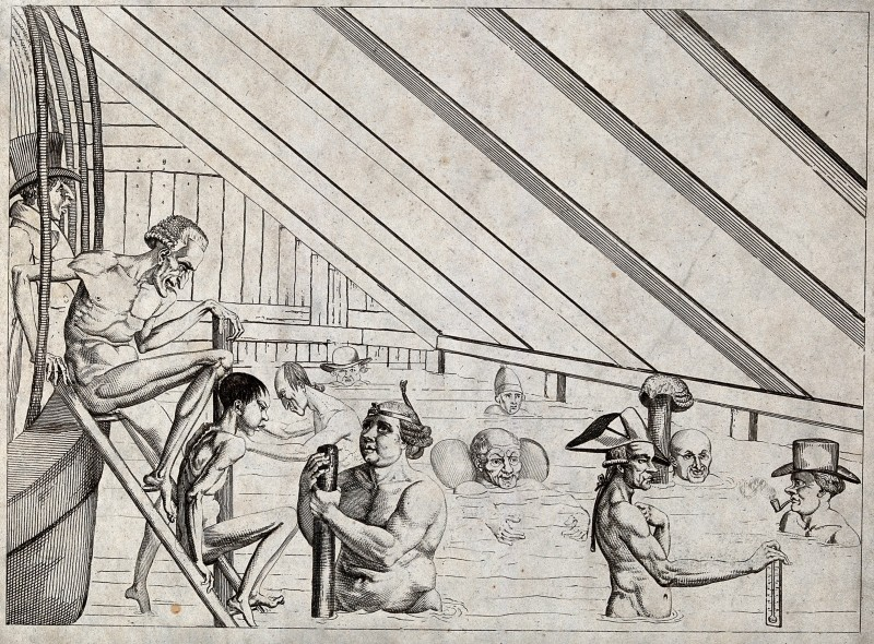 V0020035 Men bathing in a public bath. Engraving.